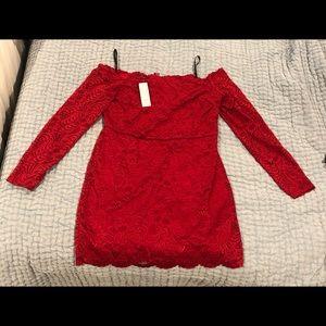 Bebe red lace off shoulder dress XL